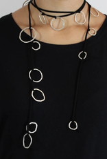 """SAUNDRA MESSINGER Necklace 58"""" scarf on suede"""