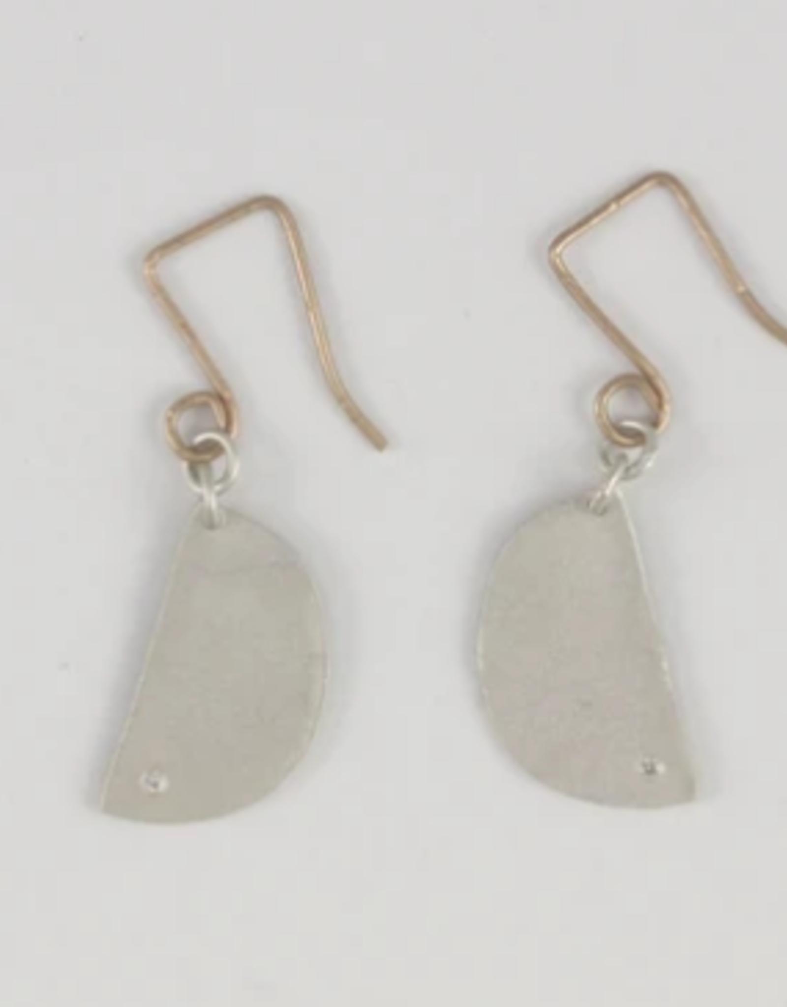 SAUNDRA MESSINGER EARRINGS SMALL HALF LUNA ON WIRES W/ DIAM