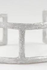 SAUNDRA MESSINGER DOUBLE OPEN BARK CUFF W 3 DIAMONDS
