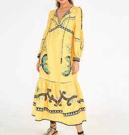 FARM RIO YELLOW BOROGODO DRESS