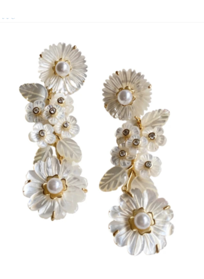 MOTHER OF PEARL FLOWER CLIP EARRING