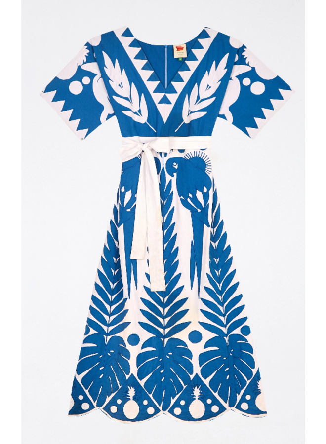 BLUE PATCHWORK EMBROIDERED DRESS