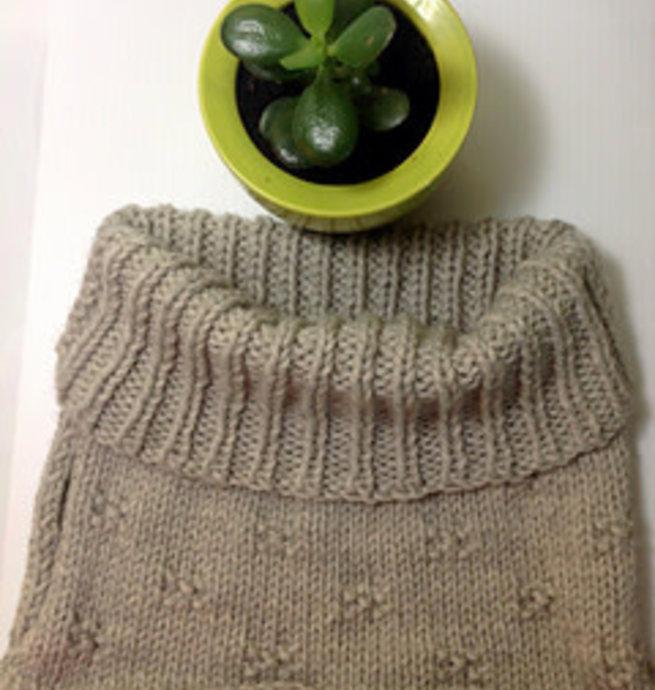 Pelotes & Cie Kit prêt à tricoter - Le P'tit Col (Denim)