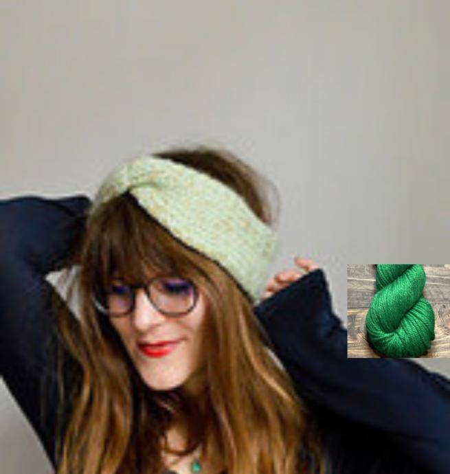 Pelotes & Cie Prêt-à-tricoter -Bandeau à torsade - Émeraude