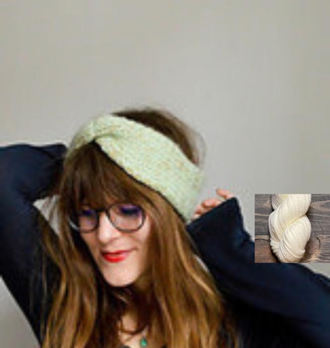 Pelotes & Cie Prêt-à-tricoter -Bandeau à torsade - Blanc