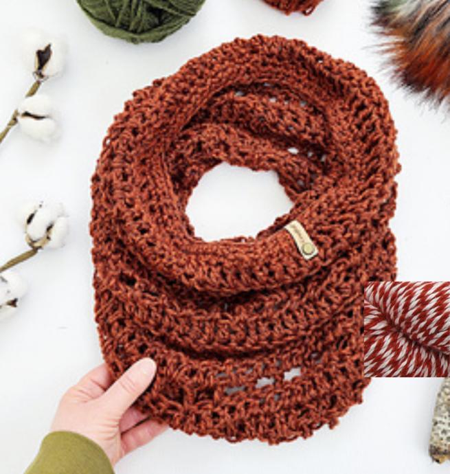 Pelotes & Cie Prêt-à-crocheter - Unfringed Cowl - Red ragg