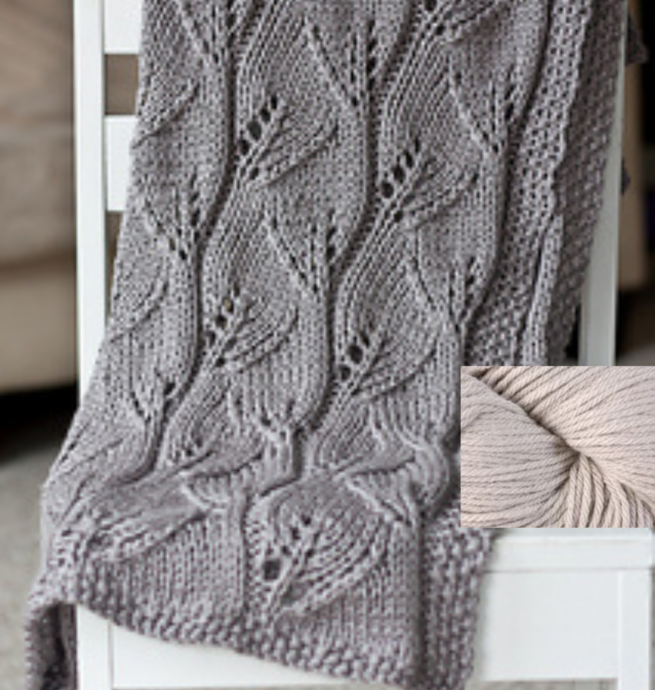 Pelotes & Cie Prêt-à-tricoter -Leafy baby blanket - Dove