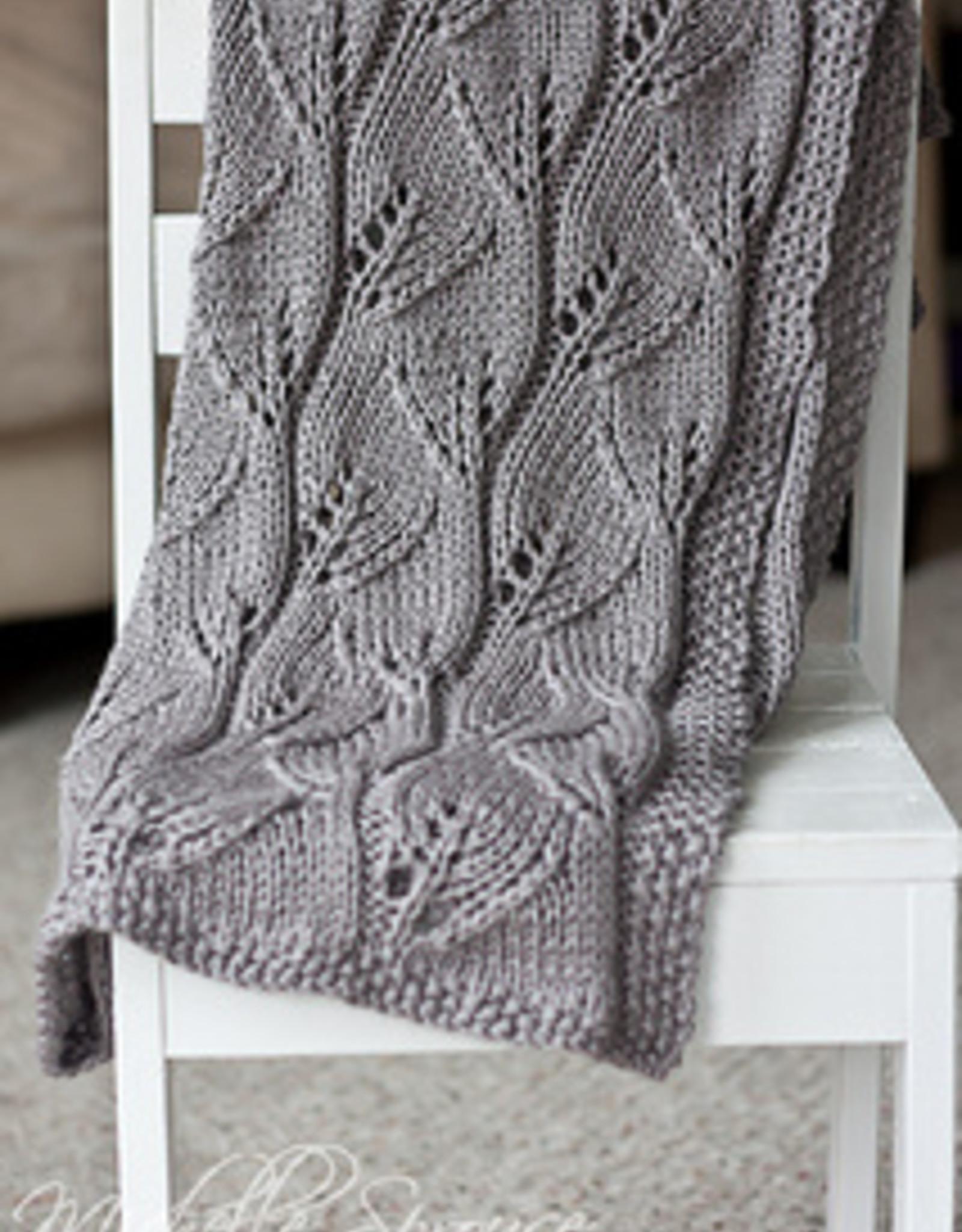 Pelotes & Cie Prêt-à-tricoter -Leafy baby blanket - Dried plum