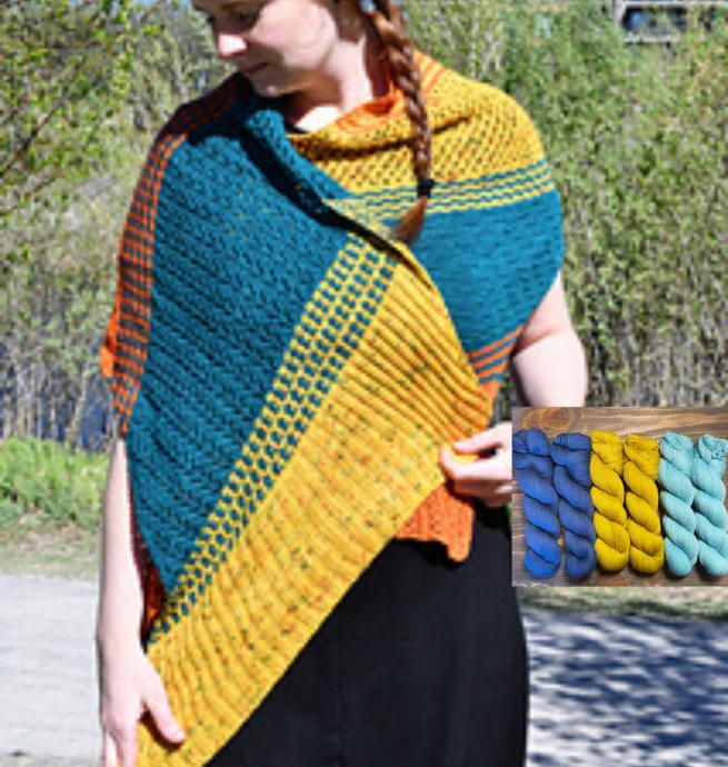 Prêt-à-tricoter - Châle Osmose - Bleu