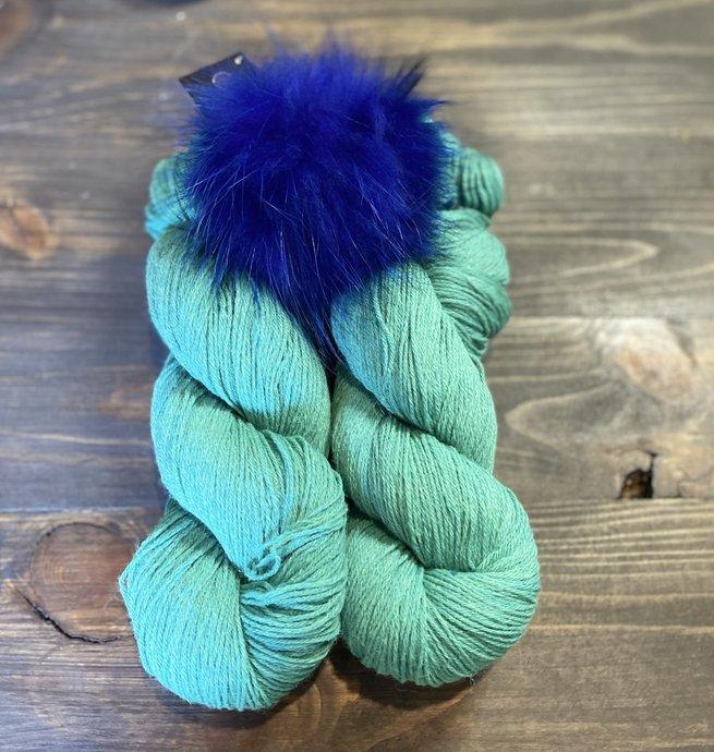 Pelotes & Cie Prêt à partir - Turquoise et pompon bleu