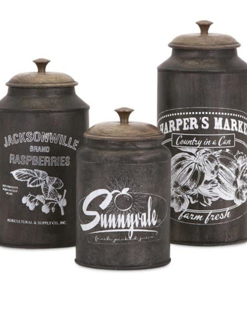 Imax Darby Metal Canisters - set of 3