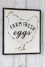 Farm Fresh Eggs Embossed Metal Sign
