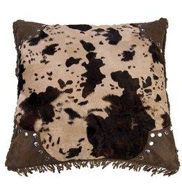"18"" x 18"" Scalloped Faux Cowhide Pillow"