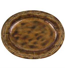 """Oval Barbwire Iron Tray 19.5"""" Red/Brown"""