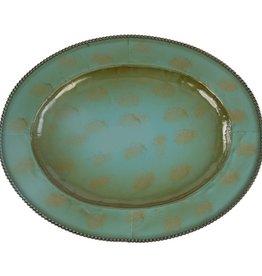 "Oval Turquoise Iron Tray 22.5."" Turquoise"