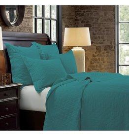 Diamond Pattern Linen Quilt, Turquoise - Queen
