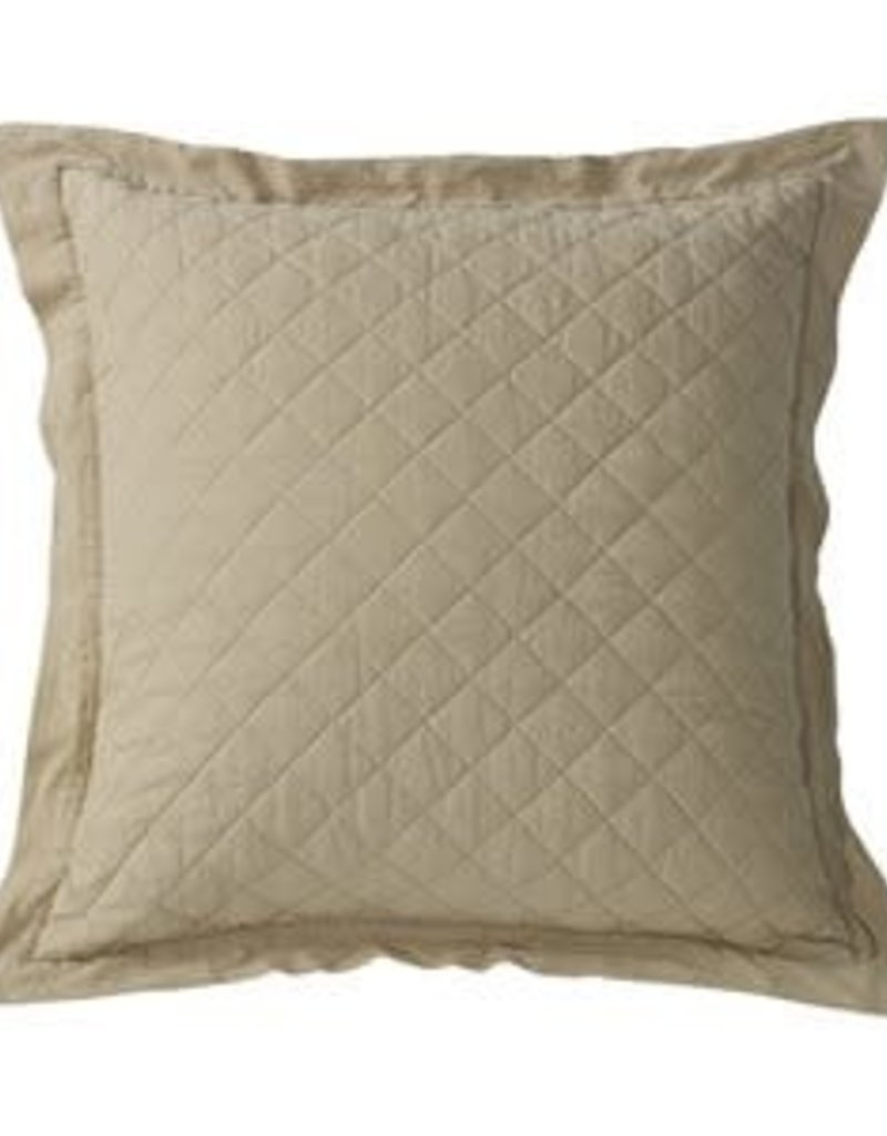 Diamond Pattern Linen Quilted Euro Sham 26x26-Khaki