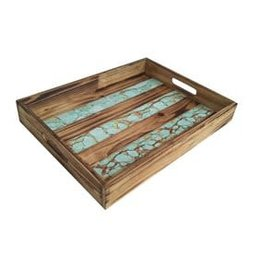 Wooden Tray W/ Turquoise Inlay