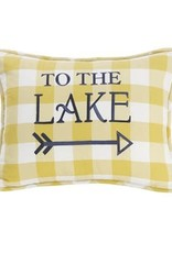 TO THE LAKE LG GINGHAM PILLOW W/EMBROIDERY 16X21