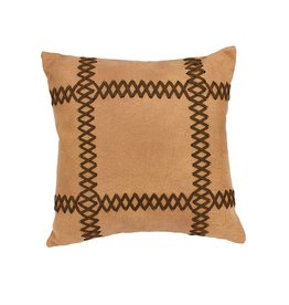Faux Leather Pillow W/ Lacing 18 x 18