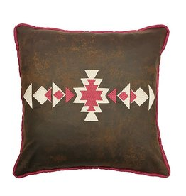 Faux Leather Pillow W/ Southwestern Embroidery 18x18