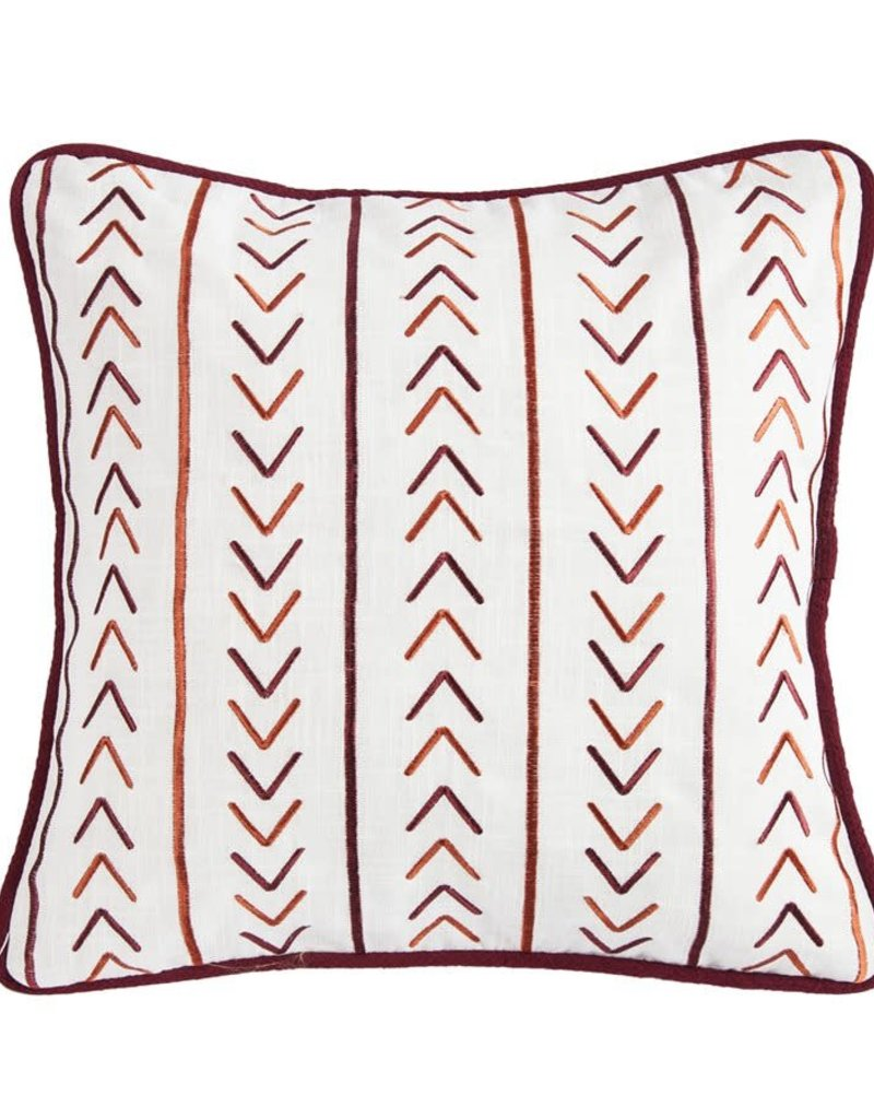 Embroidered Pillow W/ Stripe Embroidery Detail 18x18