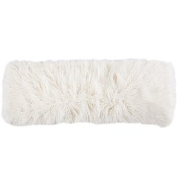 Mongolian Faux Fur Pillow 14 x 36 White