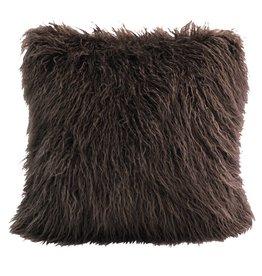 Mongolian Faux Fur Pillow 18 x 18 Chocolate