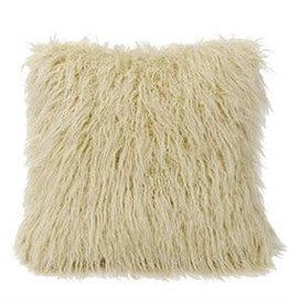 Mongolian Faux Fur Pillow 18 x 18 Cream