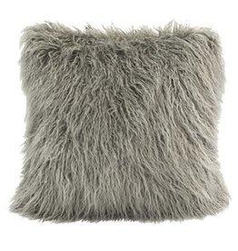 Mongolian Faux Fur Pillow 18 x 18 Gray