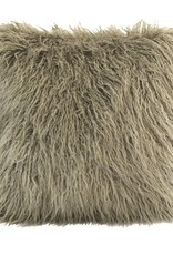 Mongolian Faux Fur Pillow 18 x 18 Taupe