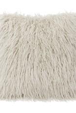 Mongolian Faux Fur Pillow 18 x 18 White