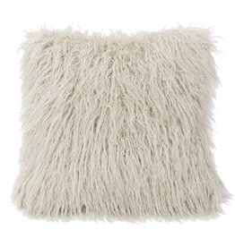 Mongolian Faux Fur Pillow 18 x 18 White