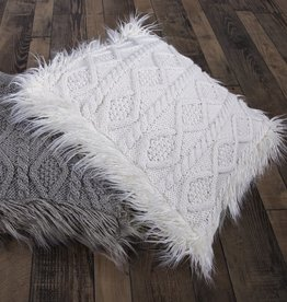 Cable Knit Pillow W/Mongolian Fur Details 18 x 18 White