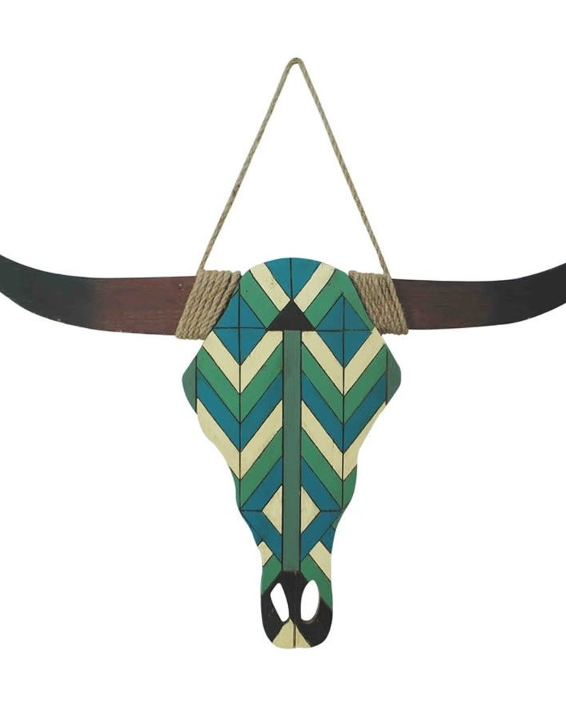 Turquoise and White Wooden Skull Hanging