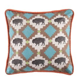 Multi Buffalo Design Pillow W/ Embroidery Details 18 x 18