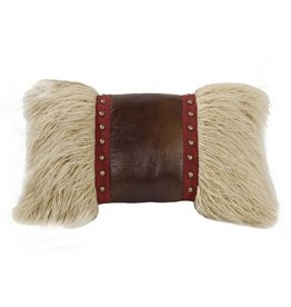 Mongolian Fur Pillow W/ Faux Leather & Studs 12 x 19