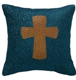 Leopard Chenille Pillow w/Cross 18x18