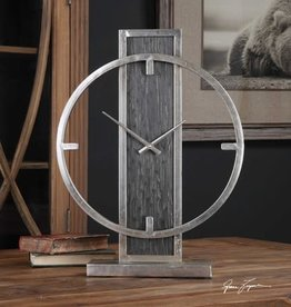 Desk Clock in Antiqued Silver Champagne