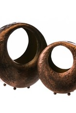 Brown Metal Tea Light Holder, Set of 2