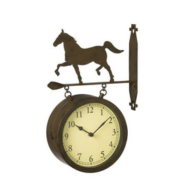 2 Sided Outdoor Wall Clock and Thermometer w/ Iron Horse