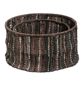Brown Leather Storage Baskets Set of 2