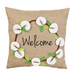 "Cotton Wreath 18"" Pillow"