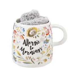 Allergic to Mornings Ceramic Cup & Sock Gift Set 12 OZ