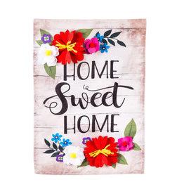 Floral Home Sweet Home Garden Linen Flag