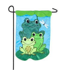 Frog Family Garden Applique Flag