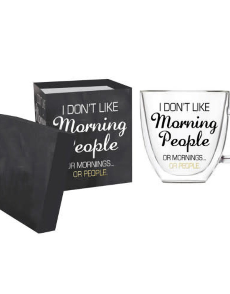 Double Wall Glass Coffee Cup w/Box 12 OZ Morning People
