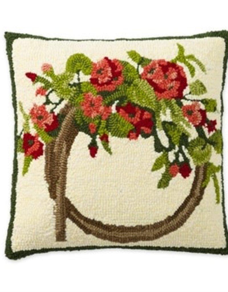 Geranium Wreath Indoor/Outdoor Pillow 18X18
