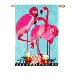 Flamingo Garden House Linen Flag