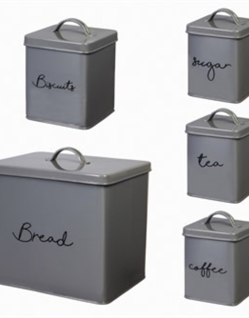 Steel Kitchen Canisters Gray 5 piece set